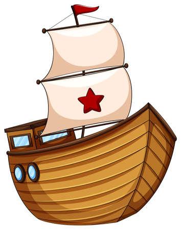 barca da pesca: Barca a vela in legno con bandiera illustrazione Vettoriali