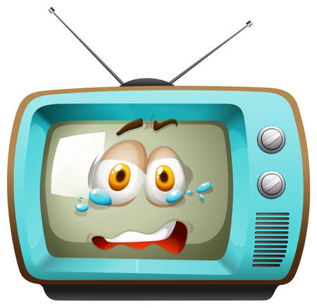 funn: Retro television with face illustration