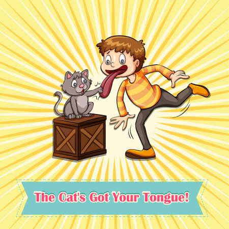 idiom: Idiom cats got your tongue illustration