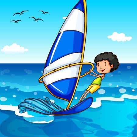 sailing: Boy surfing in the ocean illustration Illustration