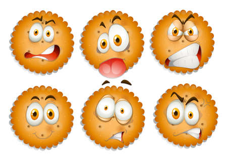 express feelings: Facial expressions on cookies illustration