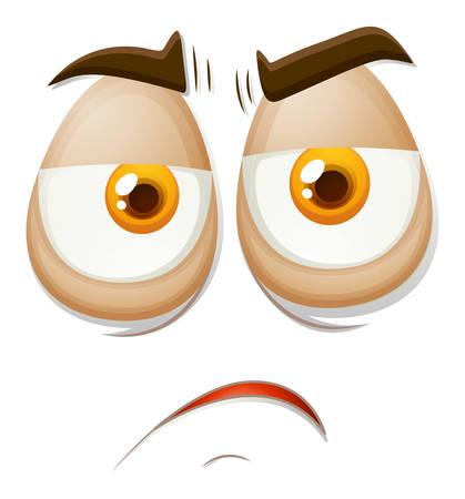 facial gestures: Sad expression on a face illustration Illustration