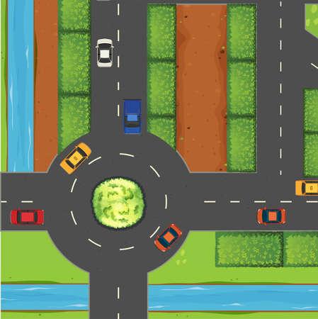 Pohled shora na ulici a kruhový objezd ilustrace