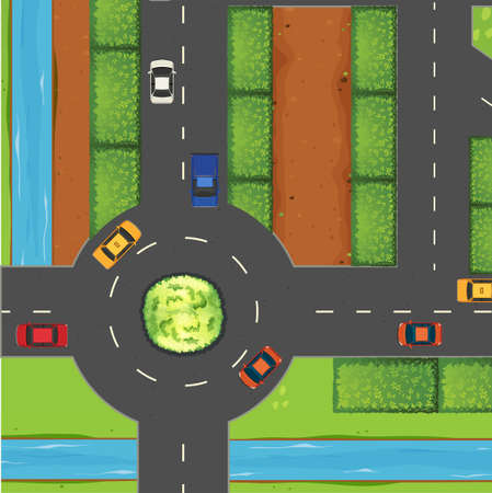 view from the above: Top view of street and roundabout illustration