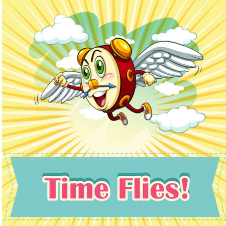 time fly: Idiom saying time flies illustration