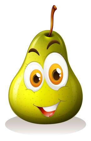 express feelings: Green pear with happy face illustration Illustration