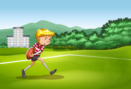 rugby field: Boy playing rugby in the field illustration