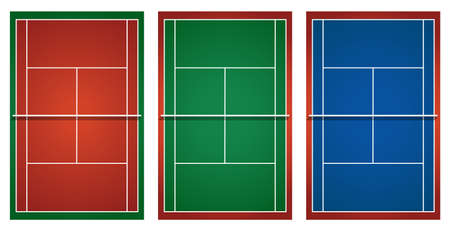 hard court: Three different tennis courts illustration