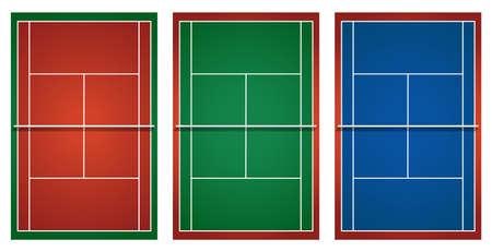 Tres pistas de tenis diferentes ilustración Ilustración de vector