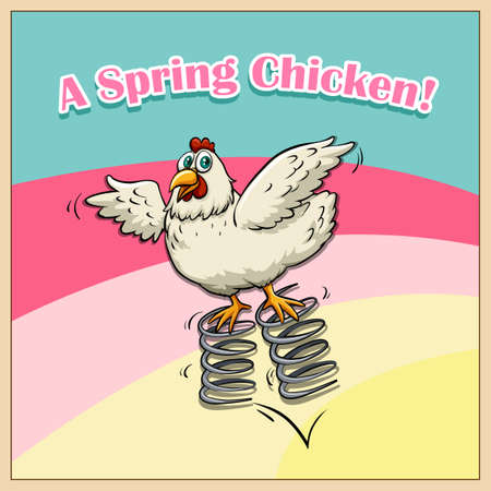 Idiom saying spring chicken illustration Illustration