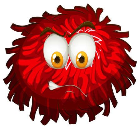pom pom: Angry face on red pom pom illustration Illustration