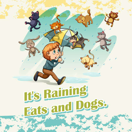 idioms: Its raining cats and dogs illustration