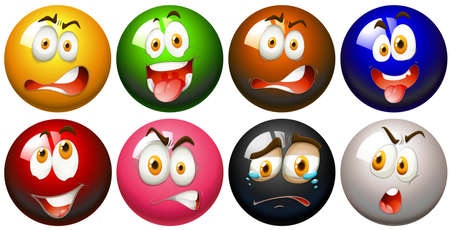 snooker balls: Snooker balls with faces illustration Illustration