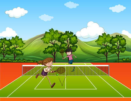 jugando tenis: Gente que juega al tenis exterior ilustración Vectores