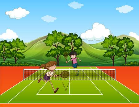 People playing tennis outside illustration Illustration