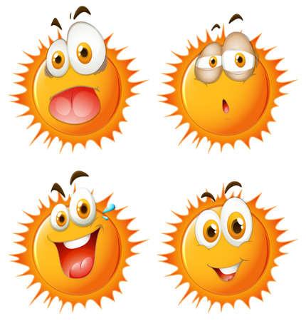 expresiones faciales: Sun con expresiones faciales ilustración