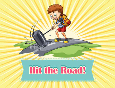 hitting: Boy hitting the road illustration