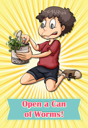 tin: Man opening worms can illustration