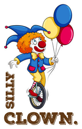silly: Silly clown with balloon illustration Illustration