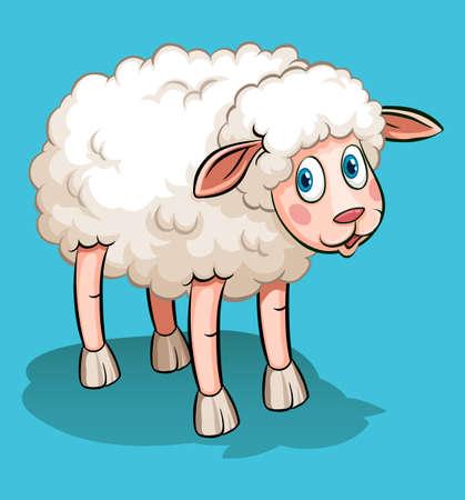 image lamb: Cute sheep on blue illustration Illustration