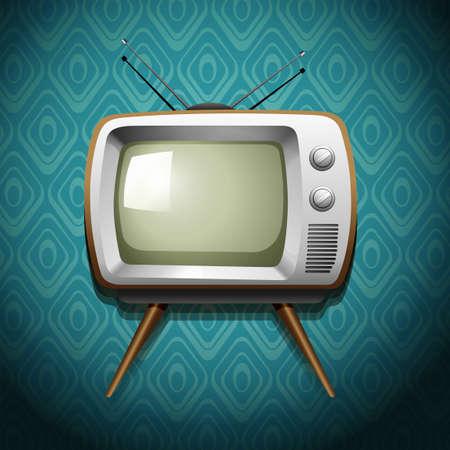 tv: Retro television sur le papier peint illustration Illustration