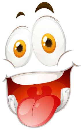 eye close up: Happy face on white illustration Illustration