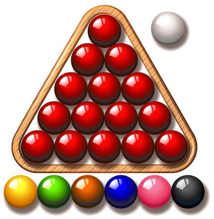 snooker balls: Snooker balls in triangle frame illustration