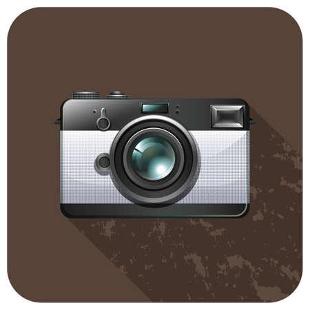 photgraphy: Retro vintage camera on tile illustration