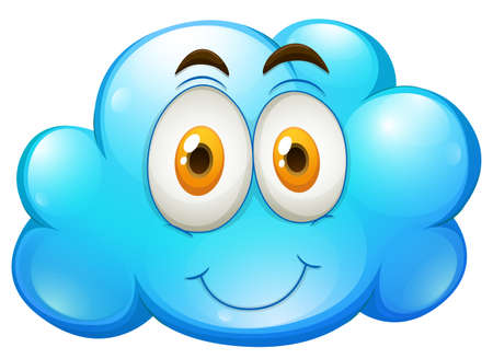 funn: Blue cloud with happy face illustration
