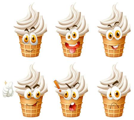 Soft ice cream on cone illustration Çizim