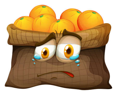 cara triste: La bolsa de naranjas con cara triste ilustración
