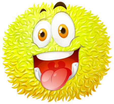 fluffy: Fluffy ball with happy face illustration Illustration