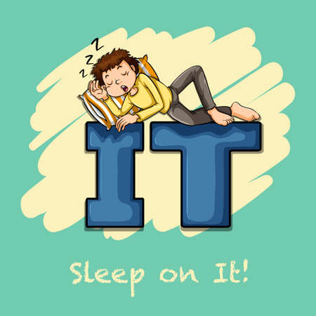 idiom: Idiom sleep on it illustration