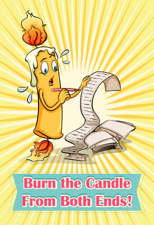 both: Burn the candle from both ends illustration Illustration