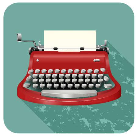 typesetter: Retro typewriter on blue illustration