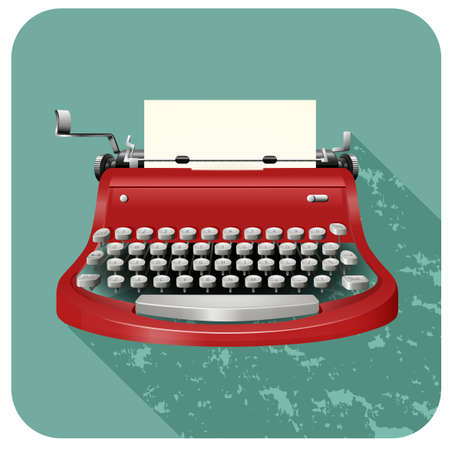 Retro typewriter on blue illustration