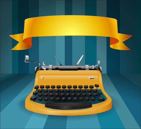 Retro typewriter with banner illustration Illustration