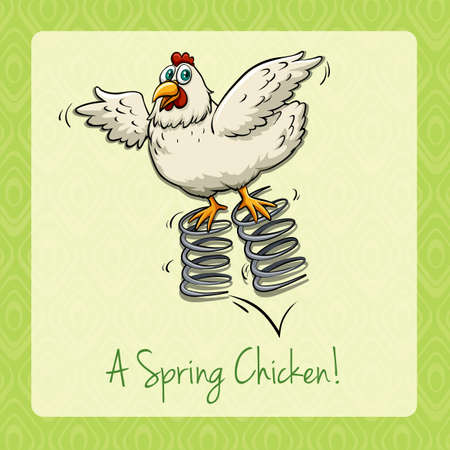 idiom: English idiom spring chicken illustration Illustration