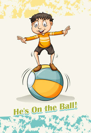 Hes on the ball illustration