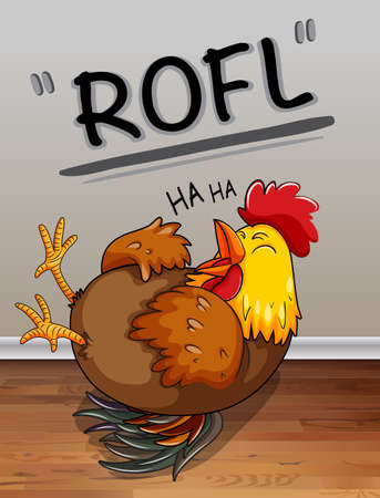 silly: Chicken lauging with text illustration