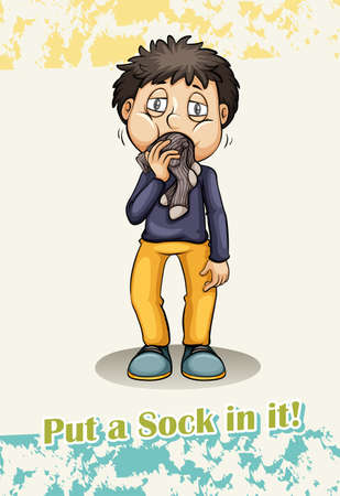 hush hush: Put a sock in it idiom illustration