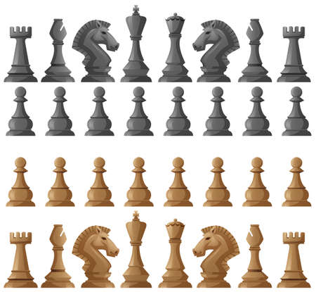 Chess set pieces on white illustration Illustration