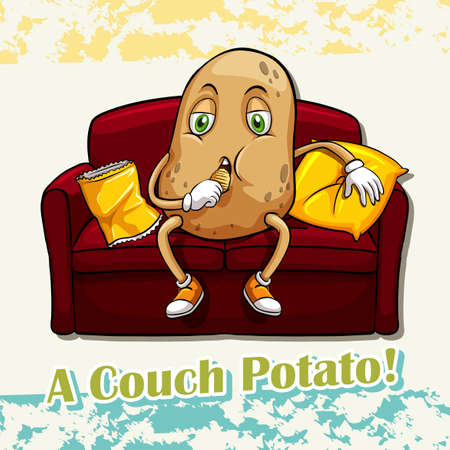 English idiom couch potato illustration
