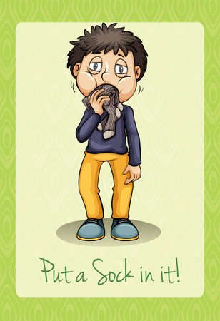 it is full: Man putting socks in mouth illustration