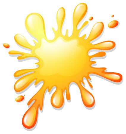 spelt: Watercolor yellow splash on white illustration