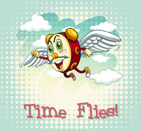 time fly: English idiom time flies illustration