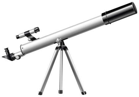 White telescope on tripod illustration