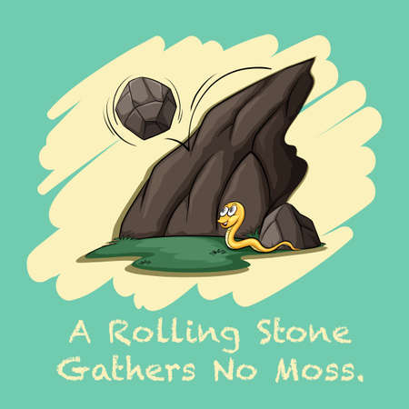 gathers: Rolling stone gathers no moss illustration Illustration