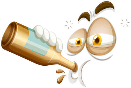 dizziness: Emoticon of a drunkard illustration Illustration