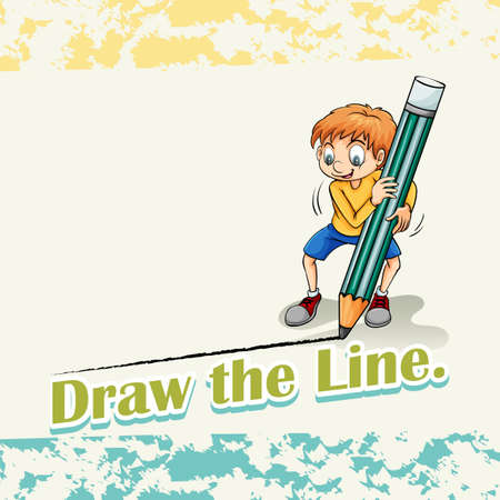 idiom: Idiom draw the line illustration Illustration